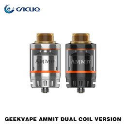 Wholesale Dual Coil 6ml - Authentic Geekvape Ammit Dual Coil Version RTA Tank with 3ml 6ml Capacity New 20mm Build Deck Four Path Airflow Tank