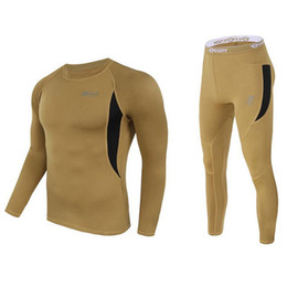 Wholesale Thermal Long Johns Underwear Pants - Wholesale- Men Ski Jacket and Pants Thermal Underwear Men Long Johns Quick Dry POLARTEC For Ski Riding Climbing Cycling