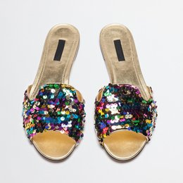 Wholesale Women Shiny Flat Shoes - 2017 Summer Elegant Women Rainbow Glitter Slippers Wrinkle Bling Bling Flats Shoes Upper Women Sexy Beach Shiny Sandals Shoes