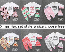 Wholesale White Colour Pants - 2017 Xmas Ins 4Pcs Set Baby boys girls take home outfit First 1st My Christmas romper + snowflake pants + headband + hat trees deer bears