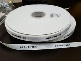 papel de regalo rojo de navidad Rebajas Logotipo personalizado satén de bricolaje de impresión correa de la cinta plana de fuente / 3D / Hierro Oro regalo de boda personalizado envoltura del paquete