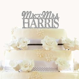 Wholesale Hearts Cake Toppers - Wholesale- Personalized Mr & Mrs gold glitter cake toppers two hearts Design Custom Last Name Wedding Cake Toppers