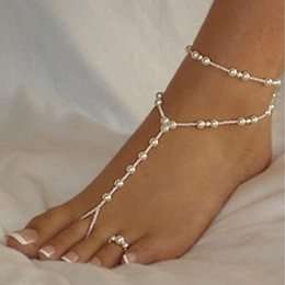 Wholesale Silver Anklets Women Barefoot Sandals - Wholesale Fashion Sandal Barefoot Bridal Beach Pearl Foot Jewelry Anklet Chain Toe Jewelry With Toe Rings