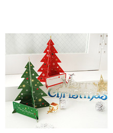 Wholesale Wholesale Green Greeting Cards - 2017 New Christmas Tree Creative Greeting Cards Merry Christmas Tree Xmas High Quality Red Green Decorative Cards Festival Invitation
