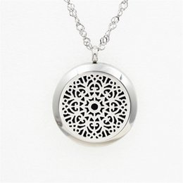 Wholesale New Floating Flower - 2017 New 20mm 25 mm 30mm Silver Magnetic Solid Perfume locket with Filigree Floating Locket Flower Charm 316L Stainless Steel With Felt Pads