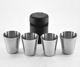 Wholesale Mini Alcohol Flask - 4pcs set mini 30ml Portable Stainless Steel Wine Cups Drinking Liquor Alcohol Whisky Vodka Bottle Mug Travel Barware Accessories