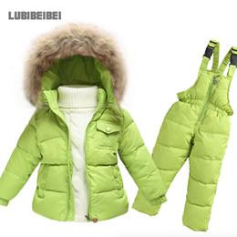 Wholesale Children Ski Suit - Wholesale- Hot Children Winter Clothing set Boys Ski Suit Girl Down Jacket Coat + Jumpsuit Set 1-6 Years Clothes For Baby Boy Baby Girl