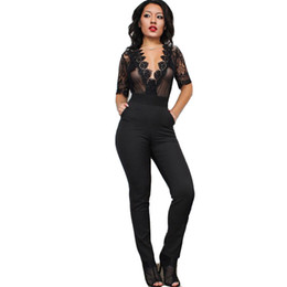 Wholesale Womens Sexy See Through Jumpsuits - Wholesale- Black Mesh Deep V-neck Overalls 2017 Summer Rompers Womens Jumpsuits Sexy See Through Short Sleeve Lace Crochet Bodysuit Pockets