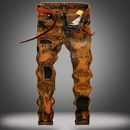 Wholesale 28 Size Jeans Male - Hot Tide BIKER&Moto JEANS Men's Trousers And The European Big size 28-42 Paint Coating Jeans Male Straight Stretch Vintage Pants