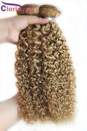 блондинка афро переплетения Скидка Honey Blonde Kinky Вьющиеся пучки малайзийских девственных уток Дешевые Afro Kinky Weave Color Цвет 27 Вьющиеся клубничные блондины