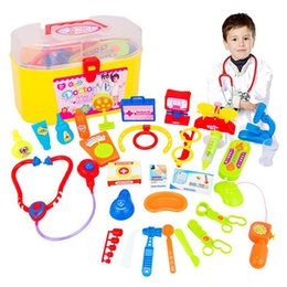 Wholesale Toy Doctor Set Wholesale - Children 's Small Doctor Toy Set Home Toys Wholesale Simulation Medical Box Healthcare Toolbox Stethoscope free shipping