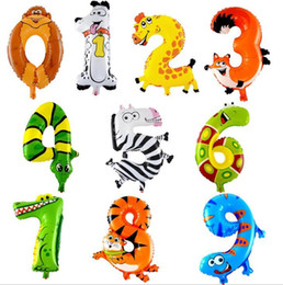 Wholesale Wholesale Happy Birthday - 16inch Animal Number Foil Balloons Kids Party Decoration Happy Birthday Wedding Decoration Ballon Gift Free Shipping