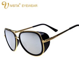 Wholesale IVSTA Iron Man Sunglasses Men Luxury Brand Designer Steampunk Sunglasses Big Frame Oversized Punk TONY Mirrored White Pink