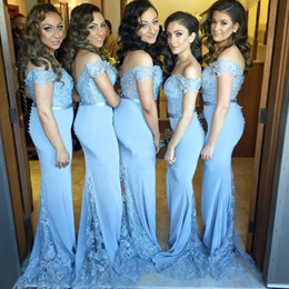 Wholesale Back Covers For Wedding - Hot Cheap New Arrival Custom Made Light Blue Satin Lace Applique Open V Back Cap Sleeves Long Bridesmaid Dresses For Wedding Party