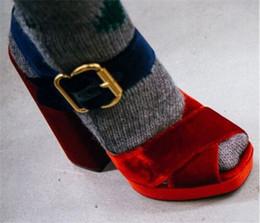 Wholesale Shoes Pump Platform Velvet - New Korean Style Velvet Women Platform High Heels Gladiator Sandals Crossing Belt Women Chunky High Heel shoes Party Pumps
