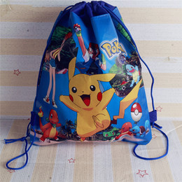 Wholesale Dolls Bags - Hot ! 10pcs Lot New Arrival 28x35cm Poke Doll Pikachu nonwovens Sundry receive package Pikahcu drawstring bags