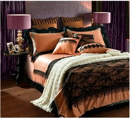 Wholesale Lace Quilt Cover - Lace embroidery Bedding set duvet cover Cotton bed in a bag sheets sheet spread King queen size linen quilt covers bedset Luxury