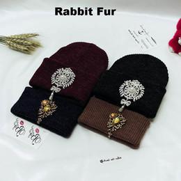 Wholesale Orange Blue Gemstones - 2016 diamond pure rabbit fur knitted cap hat Gemstone Pendant warm wool hat cap Beanies With Diamond super warm