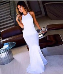 Wholesale Light Blue Chiffon Halter Cocktail Dresses - Sexy Backless White Dresses Sleeveless Elastic Satin Sweep Train Halter With Evening Prom Cocktail Party Dresses