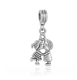 Wholesale pandora dangle girl charm - Wholesale 20pcs   Lot Boy & Girl Kiss Pendant Dangle Charm Silver European Charms Bead Fit Pandora Bracelets Snake Chain Fashion DIY Jewelry