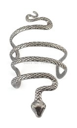 Wholesale Vintage Snake Ring Gold - Wholesale-Vintage Style Silver Snake Shape Open Bangle Cuff Wide Bangle 1Pc