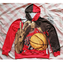 Wholesale Mj Clothing - Wholesale- Real American size Bulls MJ 3D Sublimation Print OEM Hoody Hoodie Custom made Clothing plus size