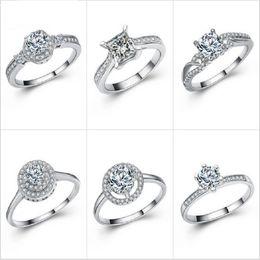 Wholesale Imitation Platinum Silver Wedding Rings - Wholesale Fashion Platinum Plating 925 Silver for Women Inlay zircon High Imitation Diamond Wedding Party Ring Size 6 7 8