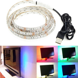 Wholesale Usb Rope Light - 5V LED Strip USB Light Waterproof SMD3528 RGB 0.5m 1m 2m 3m 4m Flexible Tape Ribbon Rope TV Background Lamp Stripe