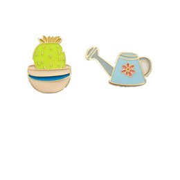 Wholesale Enamelled Pots - Wholesale- Japan and South Korea style fashion enamel potted cactus kettle brooch badge collar flowers 2016 jewelry wholesale