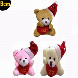 """Wholesale Tiny Love Wholesale - Wholesale- 20pcs x 5cm(2"""") Miniature Tiny Small Lovely Sitting Christmas Teddy Bear With Hat and LOVE Heart for Craft Phone Handbag Charm"""