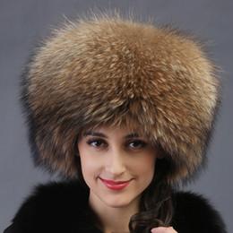 Wholesale Russian Style Hats - Wholesale-autumn winter Super warm below zero show women genuine rex racoon fur Russian style cap lady luxur fur hat hair fox fur
