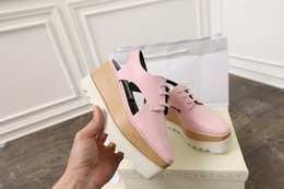 Wholesale Open Mirrors - wholesale new Stella Mccartney women Sandals Shoes Rose Gold Mirror Leather Wedge drop shipping Platform Shoes 36-39