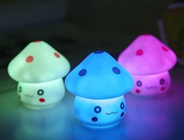 Cheap led mushroom nightlight - New Cute LED Mushroom Lamp 6.5cm Color Changing Party Lights Mini Soft Baby Child Sleeping Nightlight Novelty Luminous Toy Gift LLFA