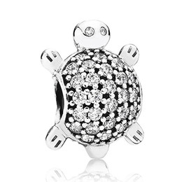 Wholesale Authentic Sterling Silver Bead Charm Cute Sea Turtle With Full Crystal Beads Fit Women Pandora Bracelet Bangle DIY Jewelry HKA3323
