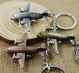 Wholesale Mini Keychain Ring - Mini plane keychain beautiful airplane model metal key chain souvenir metal key ring with 3 antique colors