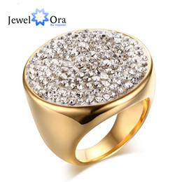 Wholesale Ms Plate - Charming Ms Stainless Steel Rhinestone Fashion Shambhala Ring Classic Gold Plated Women Ring Party Jewelry ( RI102119) 17401