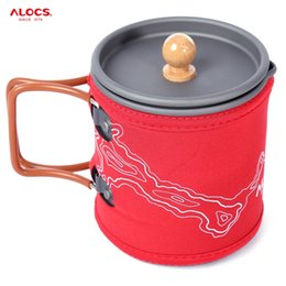 Wholesale Pro Pots - ALOCS Portable Coffee Pot 600ML Outdoor Kettle Cup Pro Aluminum Oxide Outdoor Coffee Pot Set For Car Travel Camping +B