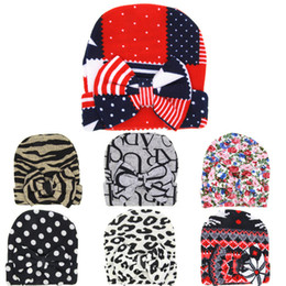 Wholesale Wholesale Winter Tires - 2016 Baby Crochet Hats with Bow Cute Baby Girl Soft Leopard Floral Knitting Hedging Caps Autumn Winter Warm Tire Cotton Cap For Newborn