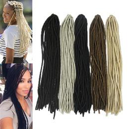 """Wholesale Blonde Synthetic Hair Extensions - 20"""" Blonde Synthetic Dreadlocks Braids Crochet Hair Extension KANEKALON Fiber Faux Locs Twist Hair 20Roots Bundle More Colors"""