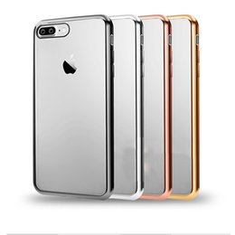 Wholesale Iphone Back Plates - back cover For Apple Iphone 7 plus Soft TPU case Ultra Thin Rose Gold Plating Crystal Clear Cases for iphone 7 plus case
