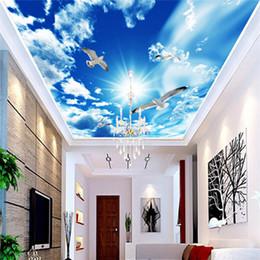 2019 fondo de pantalla 3d naturaleza Custom Large Ceiling Mural Wallpaper 3D Stereo Blue Sky Nubes blancas Paloma Naturaleza Paisaje Photo Mural Ceiling Wallpapers fondo de pantalla 3d naturaleza baratos