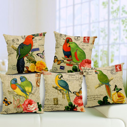 Wholesale Parrot Cushions Covers - Parrot Cushion Cover Decorative Pillow Cover Car Pillow 45x45cm Sofa Coussins Capa De Almofada Housse De Coussin Kussenhoes Chair Home Decor
