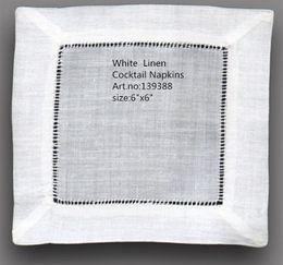 """Vestidos de cóctel cuadrados online-Textiles para el hogar Servilleta de mesa NewTablemat Venta al por mayor 120pcs / Lot 6 """"x6"""" Cuadrado elegante blanco Servilletas de cóctel de lino es vestir cualquier fiesta"""