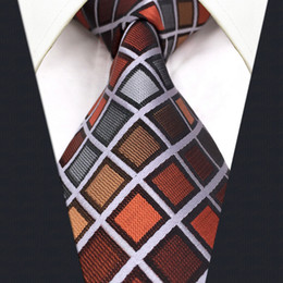 Wholesale Extra Long Mens Tie - C10 Grey Orange Checkes Silk Mens Necktie Tie Classic Fashion Wedding Ties for male Brand New extra long size