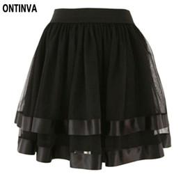 Wholesale Womens Tulle Skirt White - Wholesale- Black White Red Tulle Skirt Belly Dance Girl High Waist Skirt Cute School skirt Saia Feminina 2017 Puff Skirts Womens