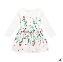Wholesale Baby Holiday Dresses - 2017 spring New Floral Baby Girls Dress Flower Ruffle Children Holiday Party Dress Printed Kids princess dresses 7661