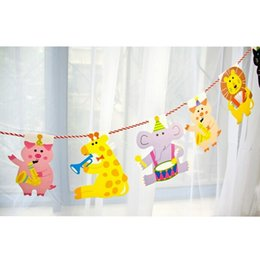 Wholesale Baby Girl Bunting - Wholesale- Animal Bunting String Flags Garland Space Decoration For Baby Shower Themed Party Festa Room Birthday Boy Girl Party Supplies
