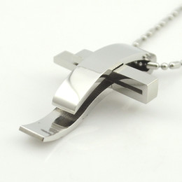 Wholesale Cross Murano Necklace - Wholesale-Silver Color Cross Stainless Steel Pendant Necklace Men Women Chain Murano Christian Jewelry Christmas Gifts Wholesale BP1167