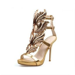 Chinese Hot Sell Women High Heel Sandals Gold Leaf Flame Gladiator Sandal Shoes  Party Dress Shoe 4c680ee6b472