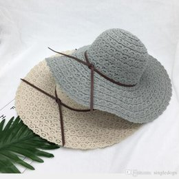 Wholesale Lace Beach Hats - Summer Vintage Hollow Out Lace Hats Women Large Floppy Foldable Straw Hat Wide Brim Beach Sun Cap With Bow Fashion Accessories